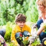 Children gardening with parents